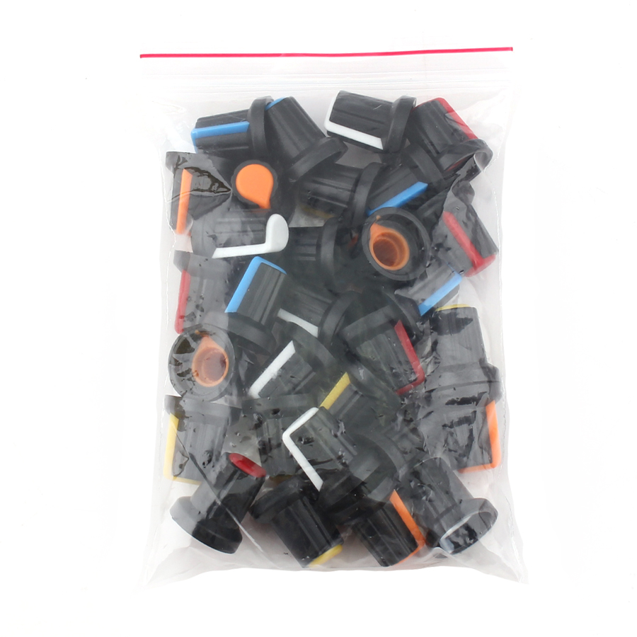 30PCS/lot WH148 Potentiometer Knob Cap(copper Core)  15X17mm 6mm Shaft Hole AG2 Power Adapter Switch Caps 5value*6PCS=30PCS