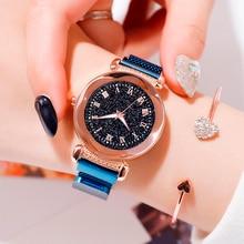 Top Brand Starry Sky Quartz Watches Women Luminous Alloy Mesh Band Watches Ladies Dress Creative Quartz Watches Clock