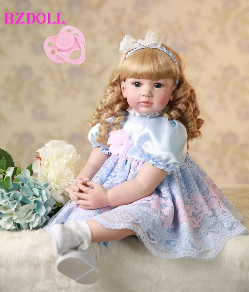 60 センチメートルシリコンリボーンベビードールおもちゃ 24 インチビニール幼児赤ちゃん人形誕生日プレゼントのままごとのおもちゃようアライブベベ  グループ上の おもちゃ & ホビー からの 人形 の中 1