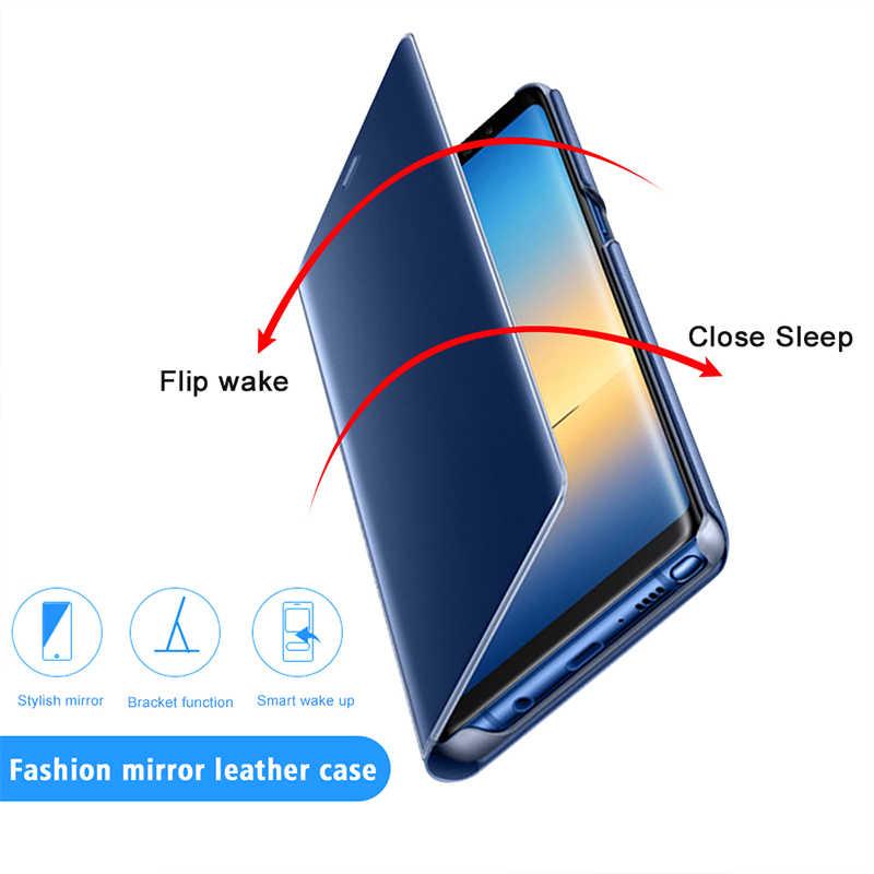 Смарт флип-чехол для samsung Galaxy A3 A5 A7 2017 Clear View Зеркало Обложка для samsung Galaxy A5 A6 A7 A8 плюс A9 Star Lite 2018