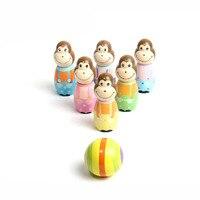 어린이 장난감 아기 스포츠 만화 원숭이 볼링 공 게임 나무 실내 야외 아이 교육 장난감 선물 M09