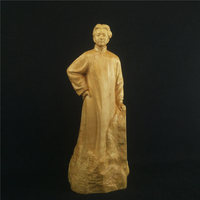 Boxwood Carvings Chinese Statesman Sculpture Youth Mao Zedong Office Supplies Carving Home Decoration Ornaments Featured Gift