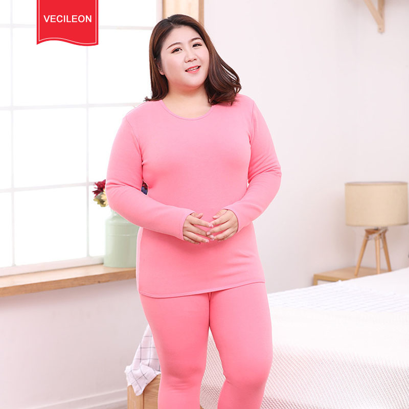 New Autumn Winter Fleece Warm 2 Pieces Women Long Johns Large Size Slim Soft Thermal Underwear Women Plus Size XXL-6XL Wholesale