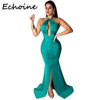 aa92dfd53 Echoine Elegant Long Dress Bodycon Hollow Out Halter Backless Dress Sexy  High Split Bandage Women Party