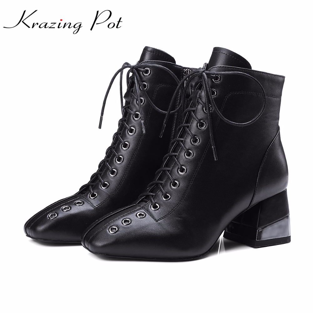 Krazing Pot new full grain leather rivets lace up high street fashion Chelsea boots superstar big size European ankle boots L6f3Krazing Pot new full grain leather rivets lace up high street fashion Chelsea boots superstar big size European ankle boots L6f3