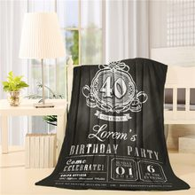 Anniversary birthday Invitation card chalkboard background Flannel Throw Blanket Lightweight Cozy Bed Sofa Blankets Super Soft(China)
