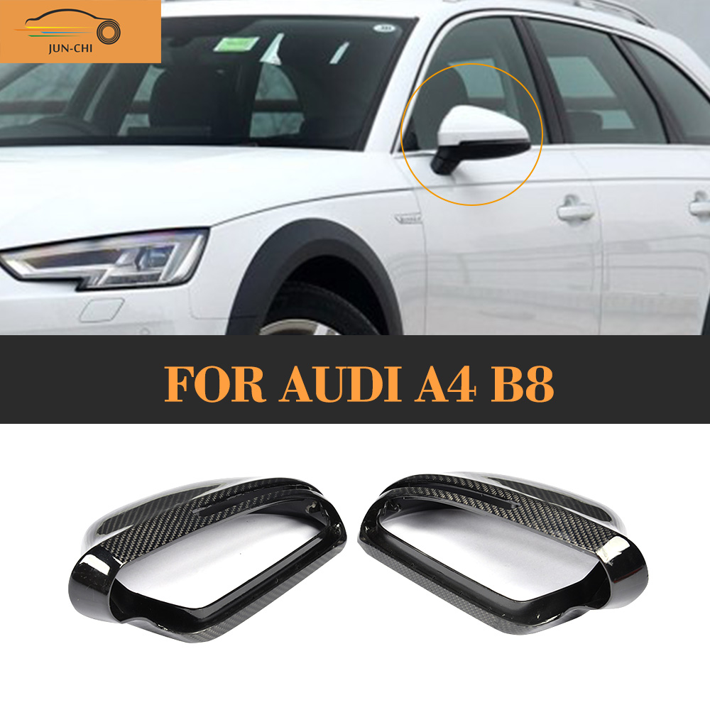 Full Replacement styling carbon fiber side rear back view mirror covers Caps for Audi A4 B8 2009 - 2012 carbon fiber mirror cover for 07 09 audi a4 b8