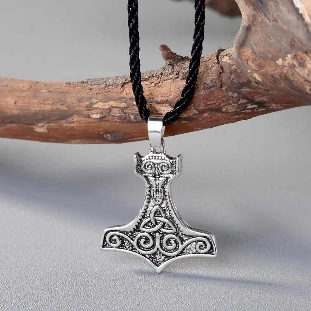 QIMING Nordic styl męska naszyjnik kobiety srebrny Thor młot wisiorek Mjolnir Norse słowiańskich topór Retro Gothic prezenty dla mężczyzn biżuteria