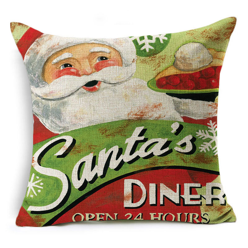 Monily Cartoon Pillow Cover Kids Christmas Santa Claus Snowman Cushion Cover Decorative Throw Pillow Case Sofa Home Decor