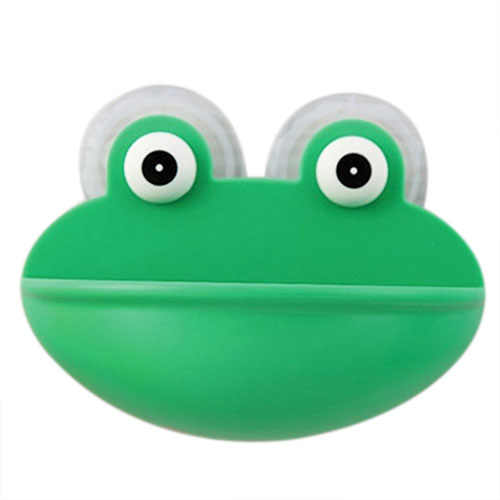 anya New Lovely Frog Wall Suction Bathroom Stuff Organizer Soap Dish Sucker Holder green