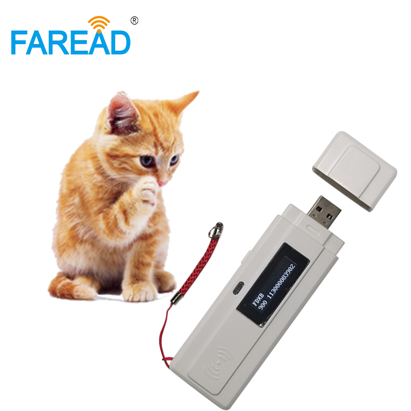 Free Shipping Free Sample X2pcs Glass Tag Transponder Chip + X1pc RFID 134.2khz Mini USB Microchip Reader Animal Vet Scanner