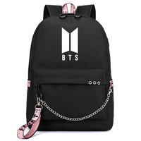 2019 Bangtan Boys Rap Monster JUNG KOOK JIMIN Backpack School Bags Mochila Travel Bags Laptop Chain Backpack Headphone USB Port