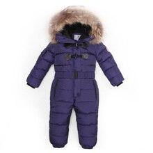 Jumpsuits Parka Hood Ski-Suit Down Girl Real-Fur Boys Kids Winter Children Warm 2-7years