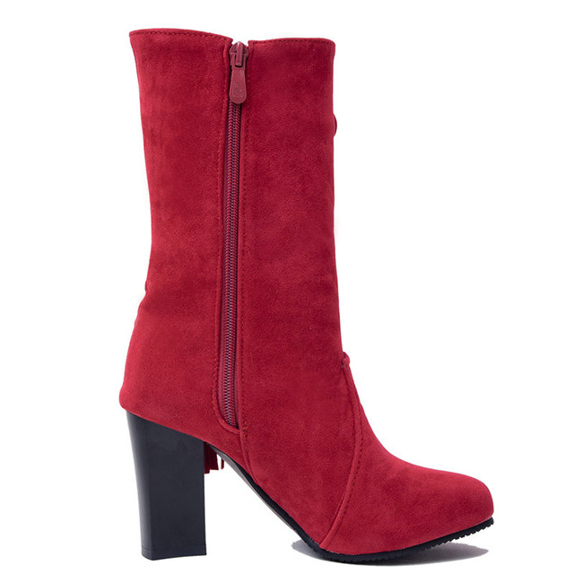Winter Square High Heel Woman Fringe Mid Calf Boots Fashion Side Zipper Calf Boots Woman Black Red Brown Gray 4