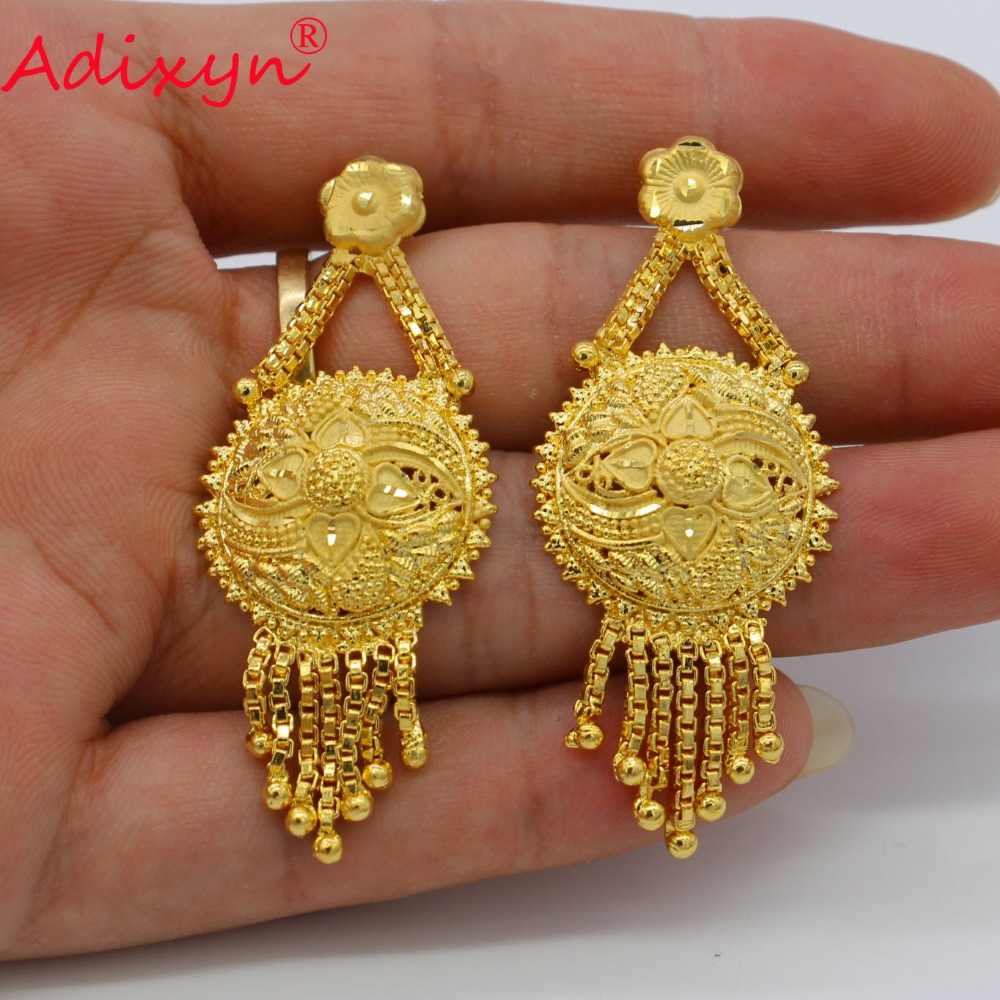 Adixyn New Tassel Earrings Jewelry For Women/Girls Gold Color/Copper For African/Ethiopian/Dubai Wedding/Party Gifts N08264 3