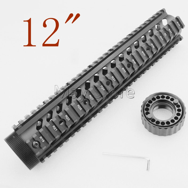 Hunting AR15 M6 Handguard Carbine Length Quad Rail System 12 M4 Tactical Airsoft Handguard