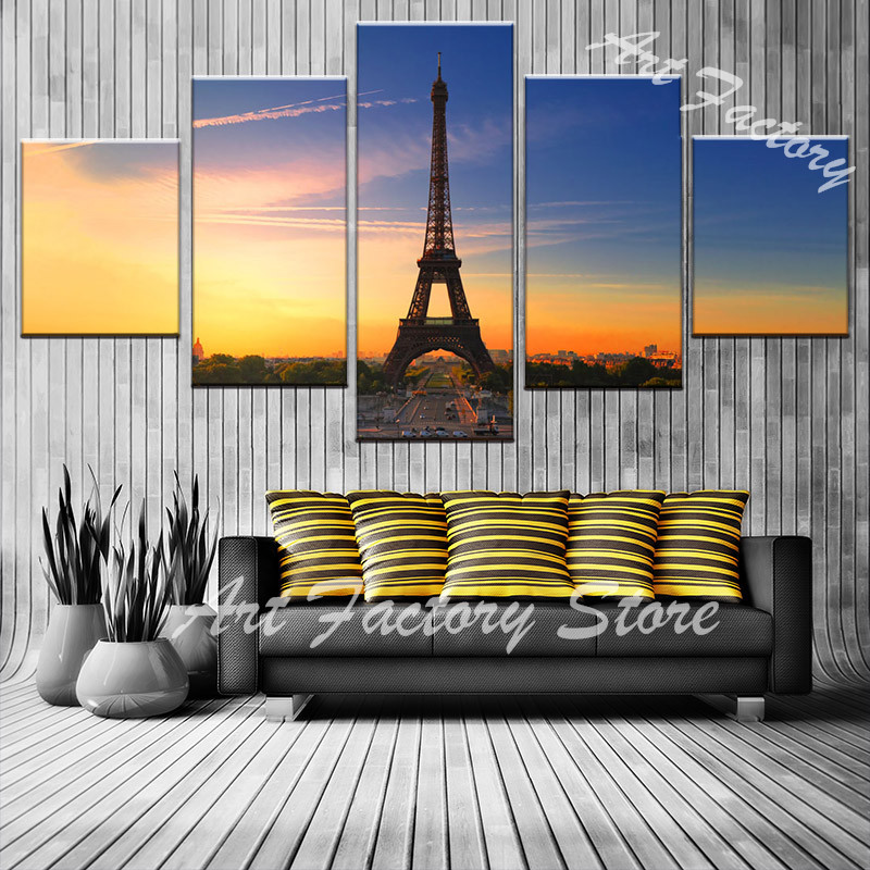 5 Pieces Canvas Paintings Wall Art HD Prints Modular Pictures  Eiffel Tower under the blue sky Living Room Decor Poster FJ-15