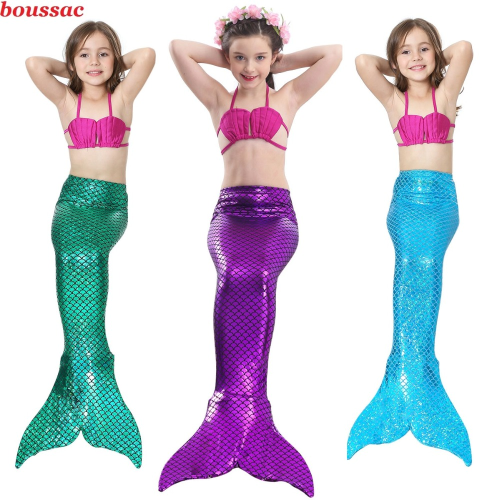 Hot Girls Mermaid Tail For Swimming Cosplay Swimsuit Kid's Mermaid Tails Swimmable Costume Swimwear Sets With Monofin Flipper