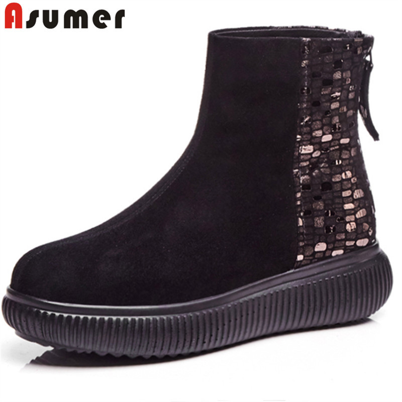 ASUMER black fashion 2018 autumn winter boots women round toe zip mixed colors ankle boots flat with suede leather boots malerba стол журнальный