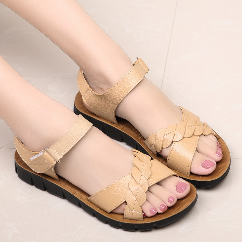 2016 summer new middle aged mom flat sandals soft bottom non slip shoes casual flat shoes