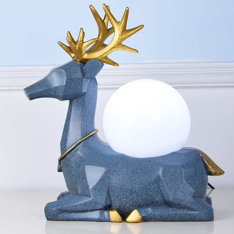 Modern Table Lamp 3 Color Choose LED Lamparas de mesa Resin Deer Desk Light E27 Hotel Lighting Deco Luminaria de mesa trazos modern table lamp hotel book lights lamparas de mesa bedside reading light e27 luminaria de mesa with led bulb for free