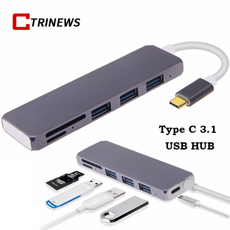 USB C HUB Aluminum USB 3.0 Type C 3.1 Splitter With PD Charge SD TF Card 6 Ports For MacBook Samsung USB C HUB Power Delivery usb type c pd charger 75w 4 ports usb c pd quick charge 3 0 smart desktop charger with power delivery for xiaomi air dell xps