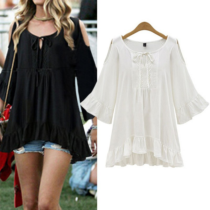 Plus Size Women   Blouse   Casual Summer Loose Long Sleeve Casual   Shirt   Tops   Blouse   L-5XL White Black