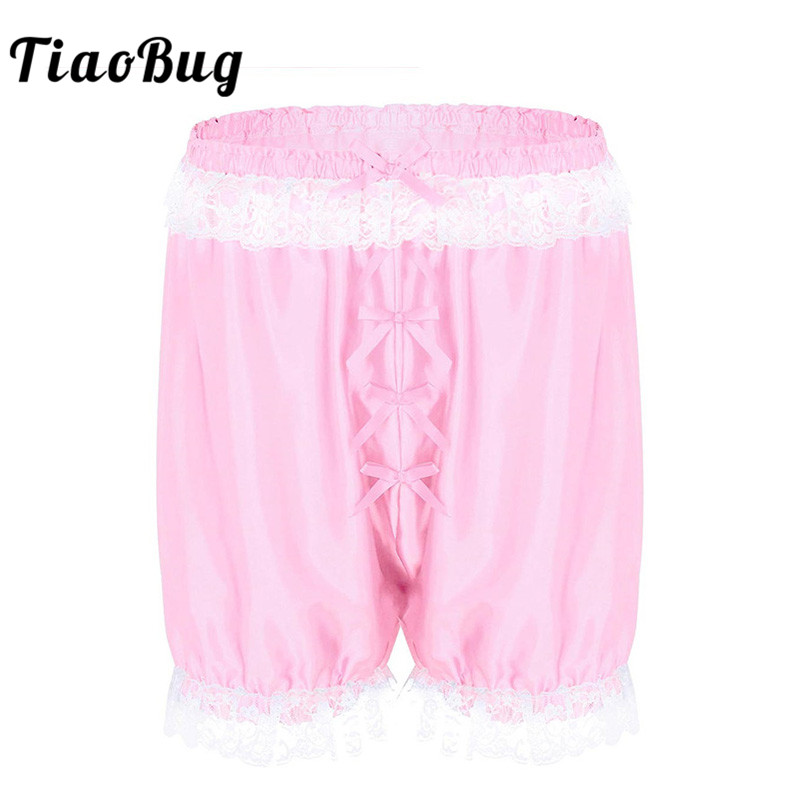Underwear & Sleepwears Frank Tiaobug Men Lace Soft Sissy Lingerie Cross-dress Panties Shorts Bloomers Lightweight Loose Lounge Short Pants Sexy Gay Nightwear Profit Small