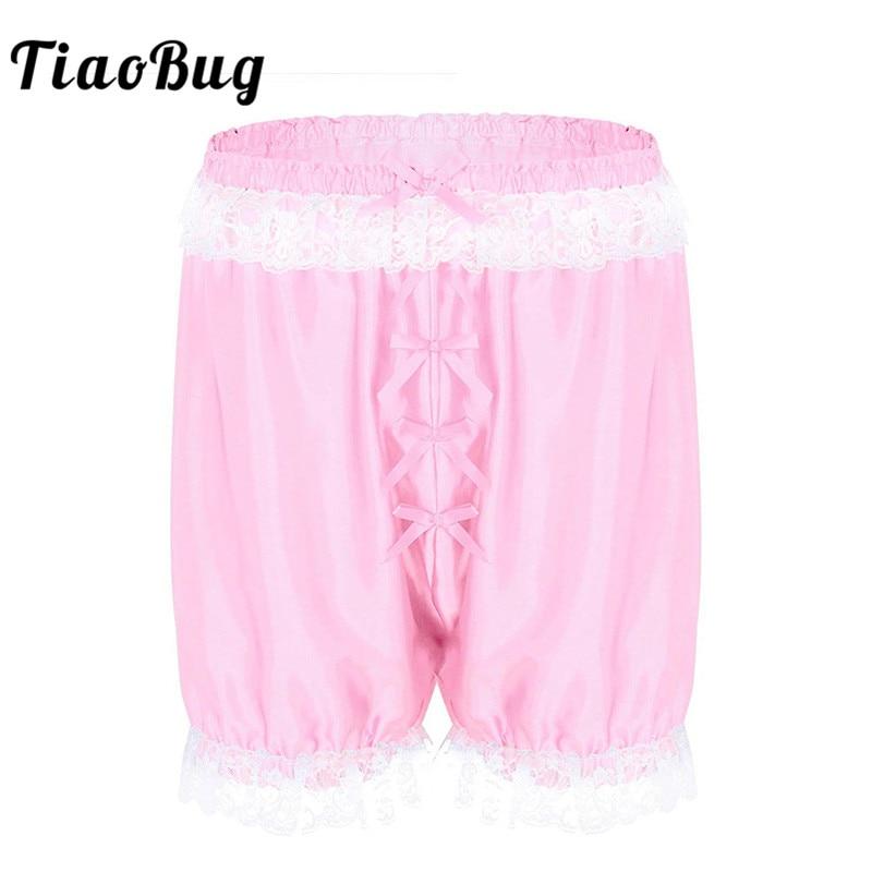 TiaoBug Men Lace Soft Sissy Lingerie Cross-dress Panties Shorts Bloomers Lightweight Loose Lounge Short Pants Sexy Gay Nightwear