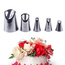 5pcs/set Petal Stainless Steel Icing Piping Nozzle Set Metal Cream Tips Cake Decorating Baking Pastry Tools Bakeware