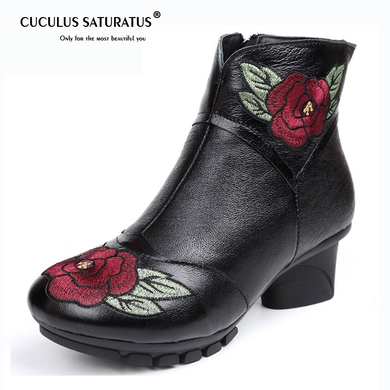 Cuculus New Embroider Flowers Genuine Leather Women Boots Thick Heel Ankle Boots Round Toe Ladies Winter Warm Shoes 1839 cuculus 2018 fashion thick heel female shoes round toe genuine leather ankle boots for women autumn winter platform boots 1500