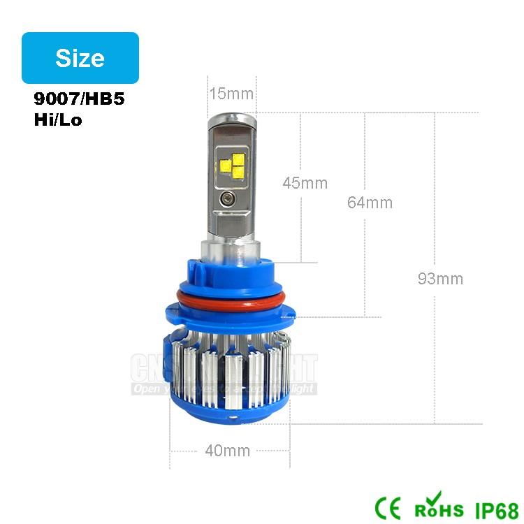 Led Car Headlight Lamp 9007 HB5 HiLo High Low ADOB Beam Turbo Leds Auto Headlight Bulbs Xenon 6000K White Lighting Source (2)
