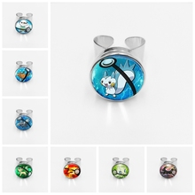 Hot! Retro Mini Squirtle Eevee Vulpix Simple Anime Pokemon Go Snap Ring Pikachu Glass Ring Pocket Monster Gift недорго, оригинальная цена