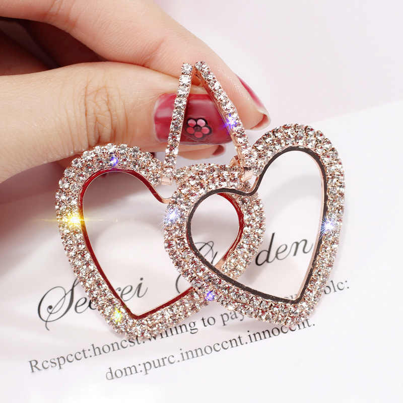 New design creative jewelry high-grade elegant crystal earrings Heart Gold and silver earrings wedding party earrings for woman