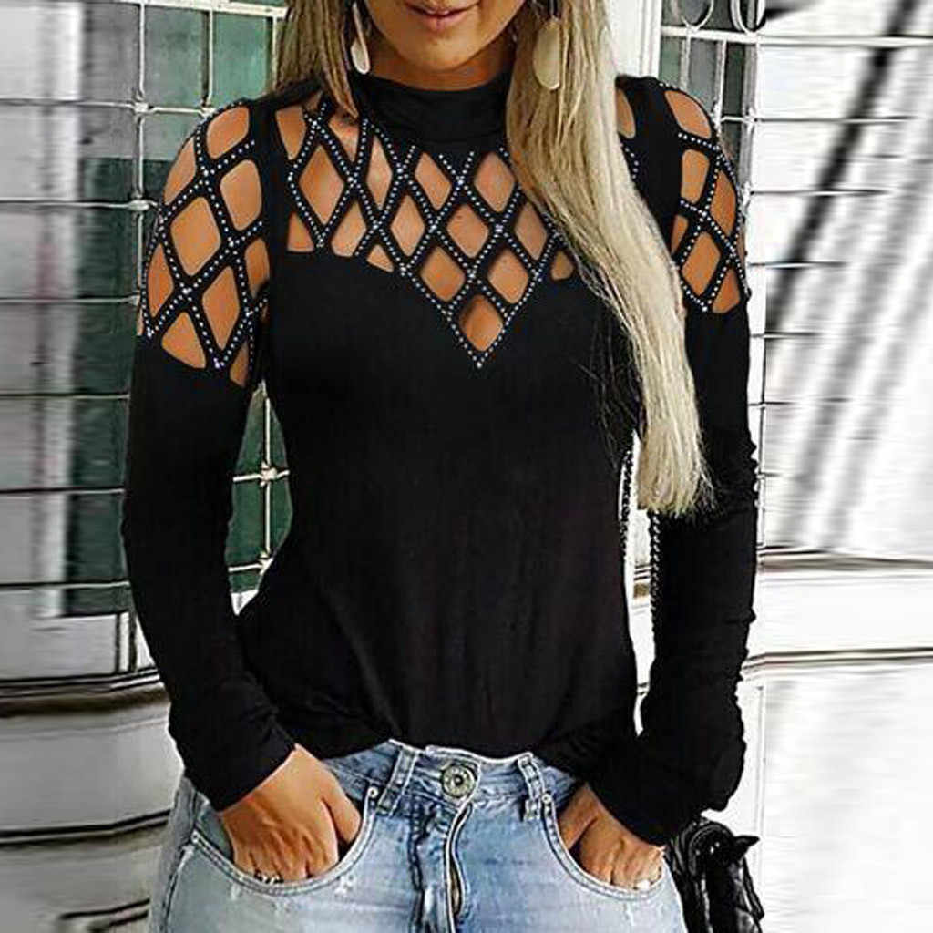 Herfst Fashion Rhinestone Hollow Out Blouse Dames Casual Sexy Basic Tee Tops Vrouwelijke vrouwen Lange Mouw Blusas Trui
