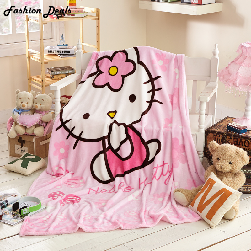 Queen Size 150x200cm Hello Kitty Blanket Kawaii Cartoon Blanket til Voksen / Kids Fleece Kast på Sengen / Sofa / Travel Free Shipping