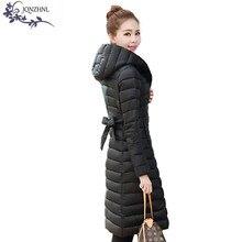JQNZHNL Осенне-Зимней Моды Плюс размер Женщин Хлопка Пальто 2017 Сплошной Цвет С Капюшоном Теплый Средней Длины Женщин Хлопка Пальто AA436