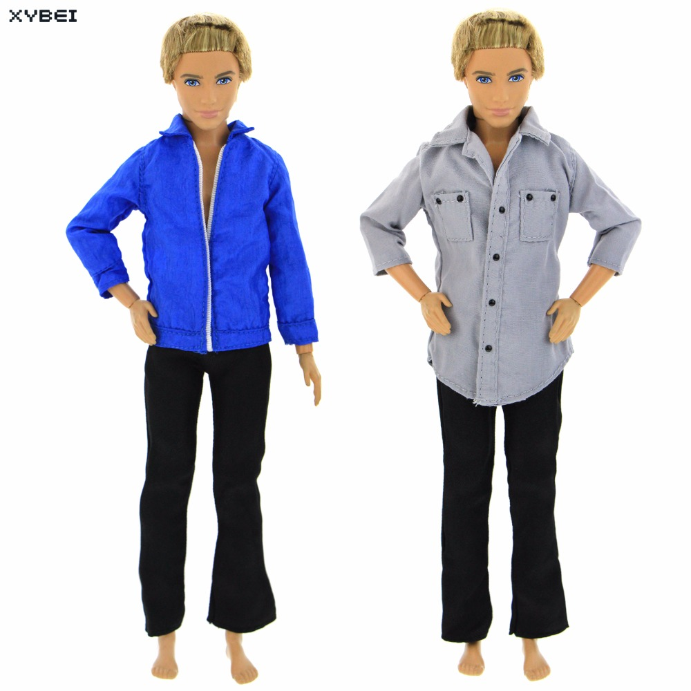 Handmade 2x Outfits Cool Daily Wear Mixed Style Long Sleeves Shirts Trousers Clothes For Barbie Doll Ken Dollhouse Accessories 5x random handmade fashion lady daily wear blouse
