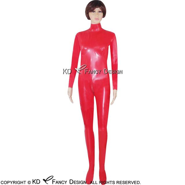 Red Sexy Latex Catsuit With Feet Glued Breast Cup Back To Crotch Zipper Rubber Bodysuit  Zentai Overall Body Suit LTY-0005