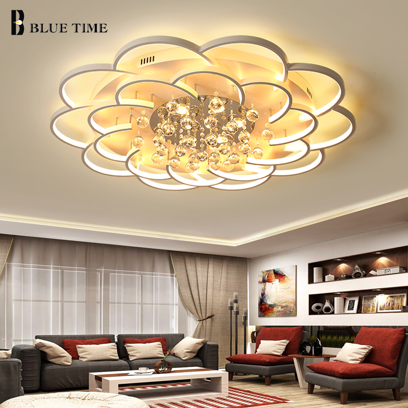 White Frame Crystal Led Chandelier For Living room Bedroom Dining room Lamp New Modern Led Ceiling Chandelier Lighting Fixtures