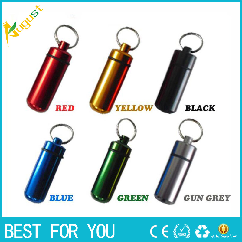 100pcs/lot Stash Pill box case medicine 14*52mm Storage Keychain Bottle Keyring metal Al ...