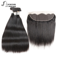 Joedir Pre-colored Remy Brazilian Straight Lace Frontal Closure With Bundles 1 Pack 3 Bundles Human Hair Bundles With Frontal