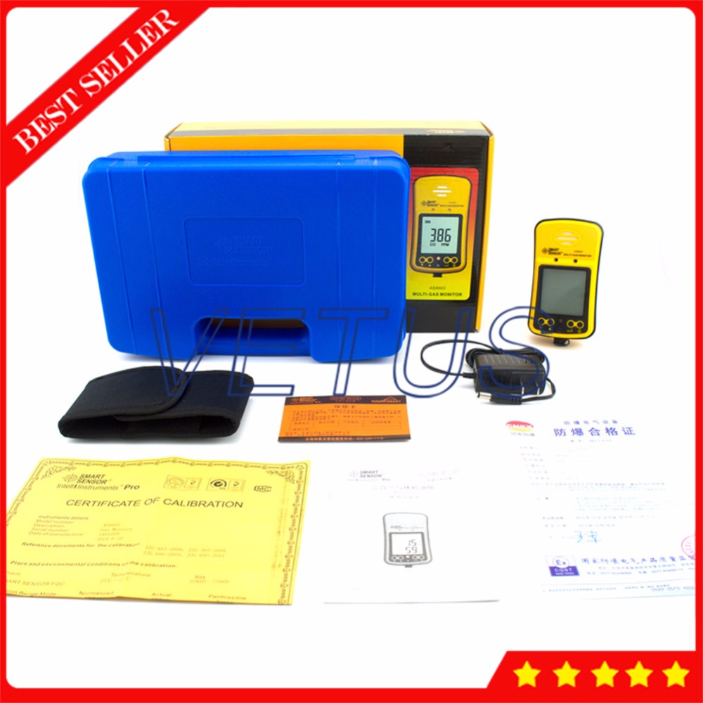 AS8903 Portable Carbon Monoxide Detector with Professsional CO Gas Tester Handheld H2S Gas analyzer
