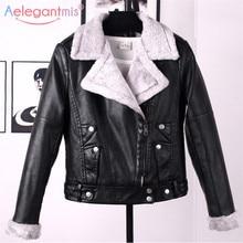 Aelegantmis, осенне-зимняя кожаная куртка, Женское пальто из искусственного меха, женская тонкая короткая байкерская куртка, базовая теплая плюшевая верхняя одежда
