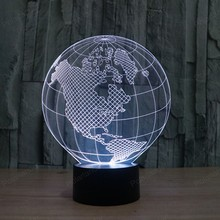 3D American globe led night touch USB dimensional lights LED colorful night light gradient acrylic lights