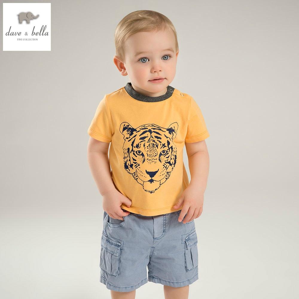 купить DB5868 dave bella summer baby boys clothing sets tiger printed set childs infant clothes children handsome sets baby costumes недорого