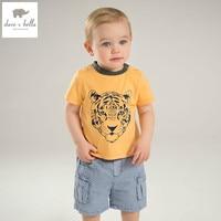 DB5868 Dave Bella Summer Baby Boys Clothing Sets Tiger Printed Set Childs Infant Clothes Children Handsome