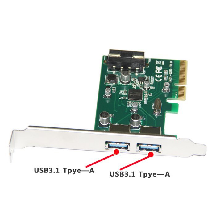 PCI-E 4x Express to USB 3.1 Type A Dual USB Port Add on Expansion Card Adapter 10 Gbps , Free shipping By Fedex DHL UPS
