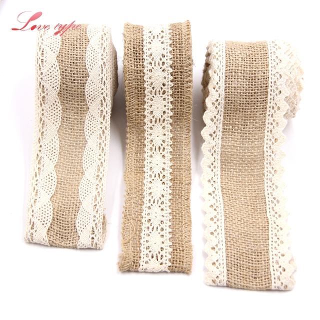 2 m jute coton dentelle ruban couture ruban de jute rouleau toile de jute garnitures bande. Black Bedroom Furniture Sets. Home Design Ideas