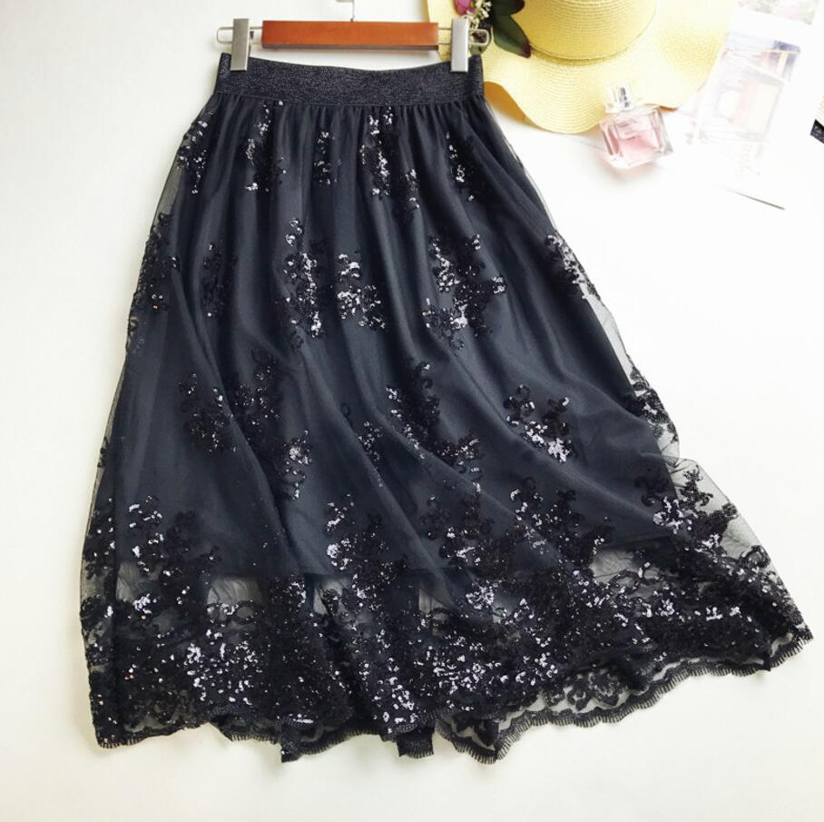 2018 Skirts New Women Girls Middle Long Calf Elastic Force Black Khaki Sequins Lace Sexy Splicing High Waist Cultivation Downloa 2